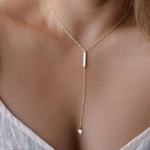 Gold Geometric long gold necklace